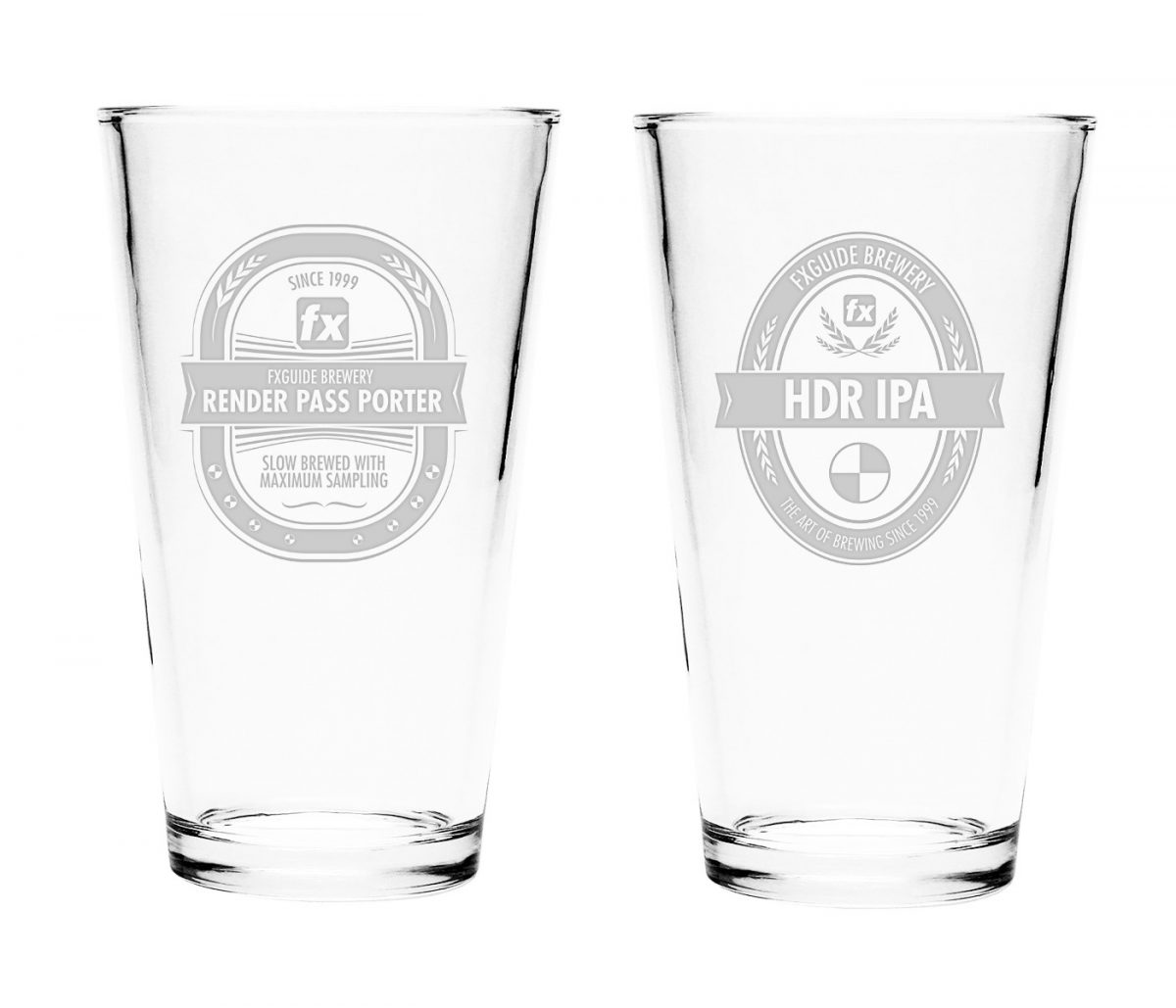 Set of two etched pint glasses, available at higher pledge levels.