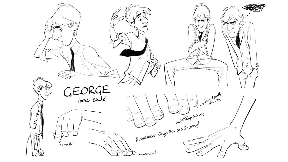 Character Design Sheet Pixar : The spider weaver george from paperman