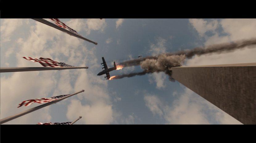 The AC-130 hits the Washington Monument.