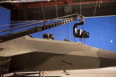 Cockpit plates being filmed.