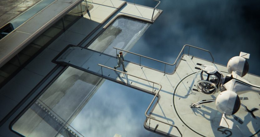 Jack walks across a bridge on the sky tower to the bubbleship.