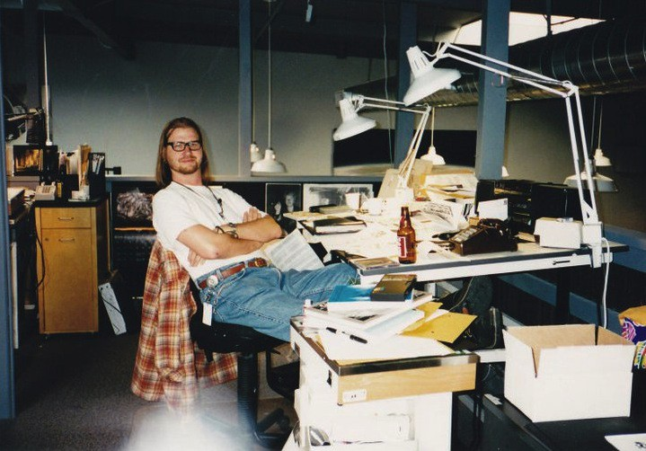 "A photo of TyRuben Ellingson at ILM (taken in 1995): ""No computers on our desks,"" he notes. ""I think the department had three. When I started in 1989 we had none, in fact in the entire company, we had only two copiers."""