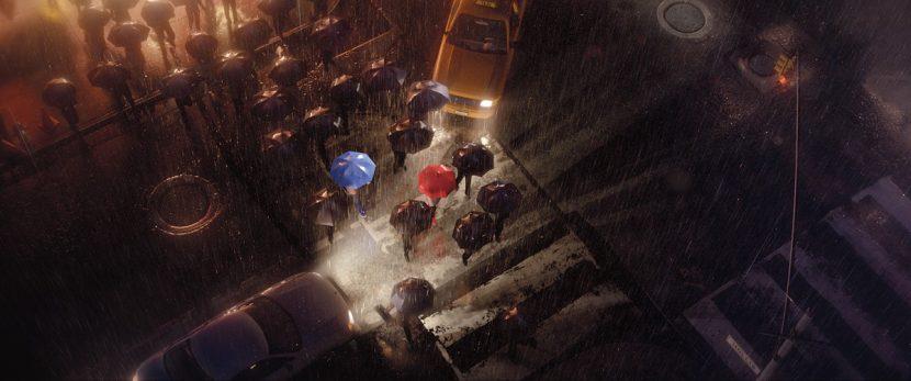 A scene from The Blue Umbrella.