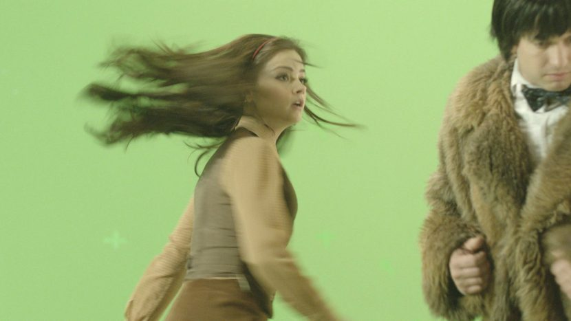 Jenna-Louise Coleman was filmed against greenscreen for some of the Doctor interaction shots.