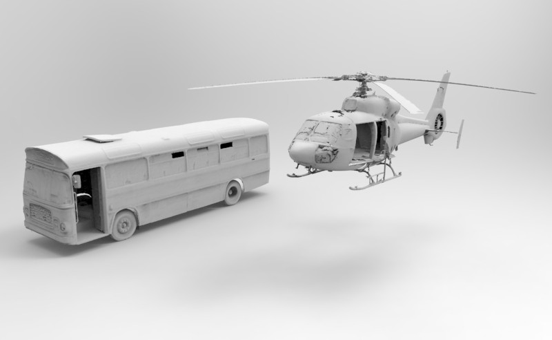 Bus and helicopter meshes. Image courtesy 2h3D