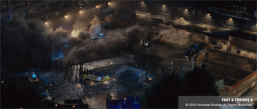 A final shot from the parcade collapse in Fast & Furious 6 (VFX by Image Engine).