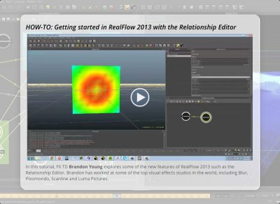 The iBook includes video tutorials on new features inside RealFlow 2013.