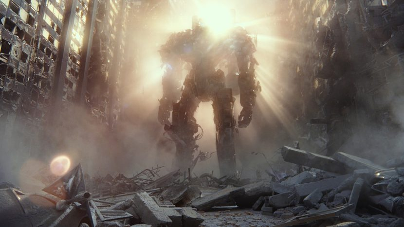 A Jaeger appears in the rubble in a flashback sequence.