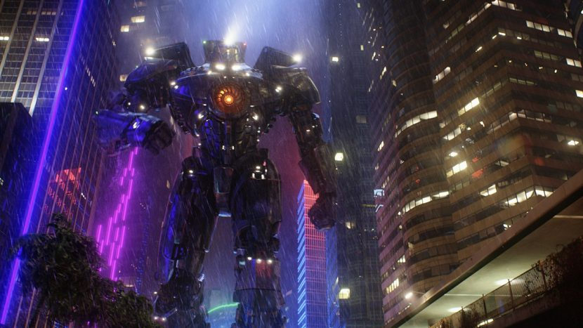 Gipsy Danger in the streets of Hong Kong.