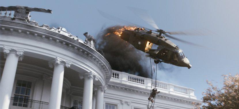 Close view of a digital White House in the Black Hawk crash scene.