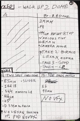 VFX supervisor Stephan Fleet tweeted this image of his Moleskine notes.