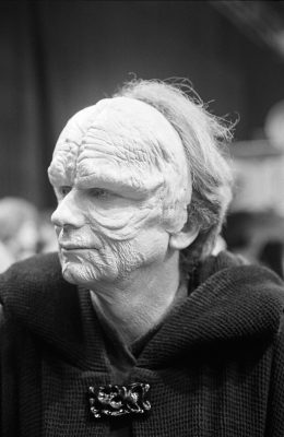 Ian McDiarmid in partial Emperor Palpatine make-up.