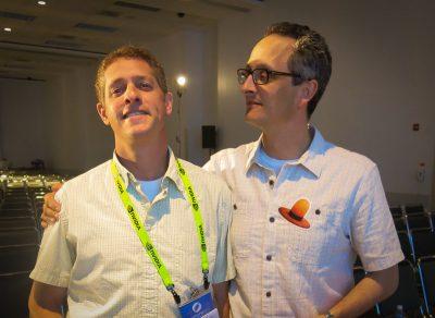 DigitalFish's Dan Herman and  (left) and Geri's Game & Windy Day director Jan Pinkava having fun at SIGGRAPH 2013