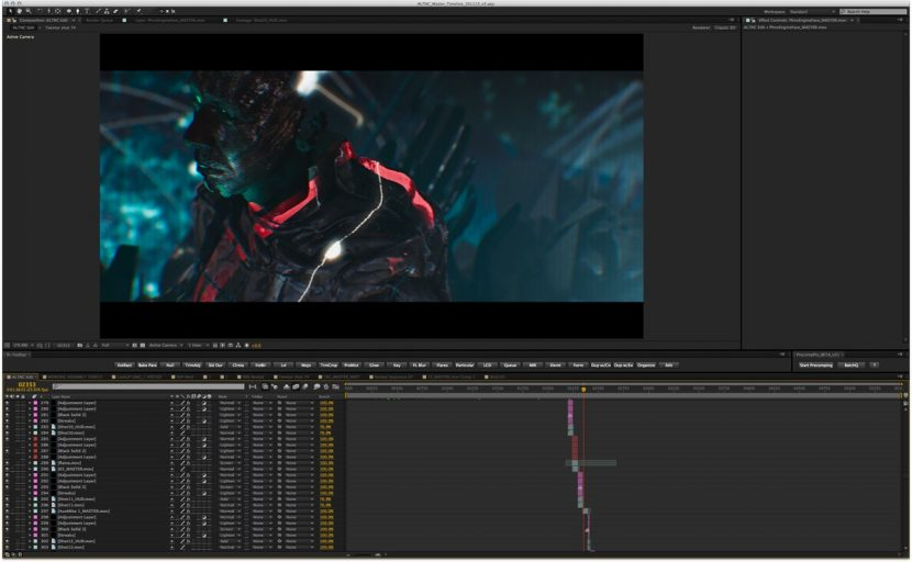 An After Effects screenshot from the music video.