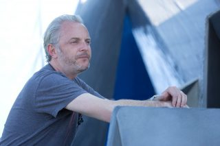Director Francis Lawrence on the set of Catching Fire.