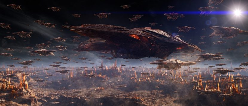 As well as zero-g shots, DD created enormous Formic battle scenes.