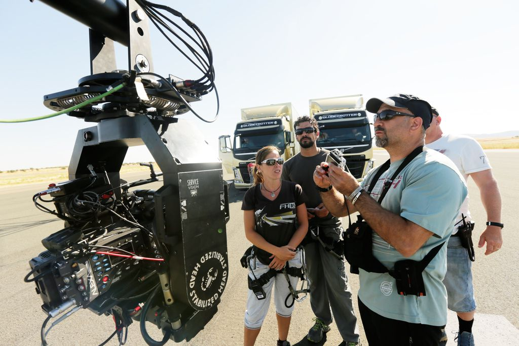 Stunt coordinator Peter Pedrero and crew with the ARRI Alexa.