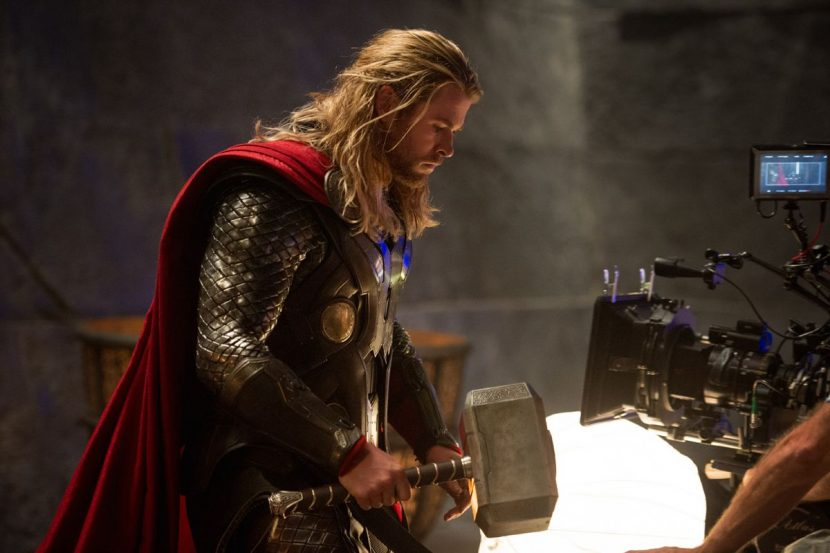 Chris Hemsworth portrays Thor.