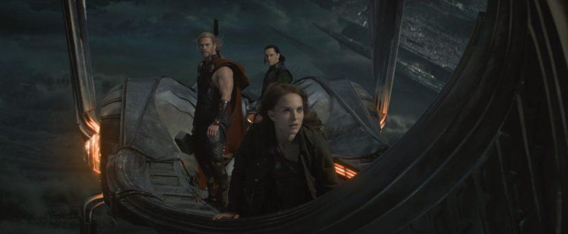 Thor, Loki and Jane end up on Asgardian skiff.