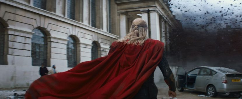 Thor's flight is featured several times in the film, including at the battle at Greenwich.