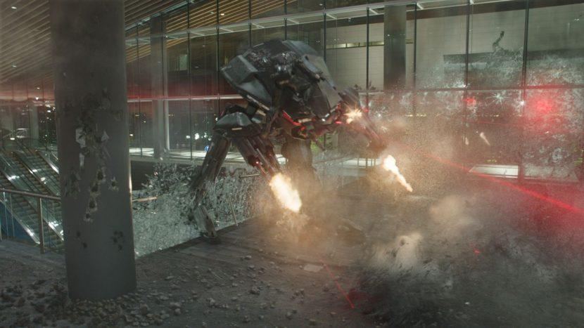 An ED-209 battles RoboCop.