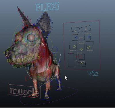 Animation controls overlaid onto of the muscle structure to show how the two relate, including some of The Mill's master Flex and Muscle controls the allowed animators to trigger or tense muscles at will on top of the automated animation rig.