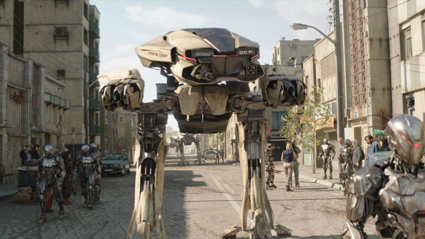 Framestore created the ED-209s, EM-208s and views of Tehran.