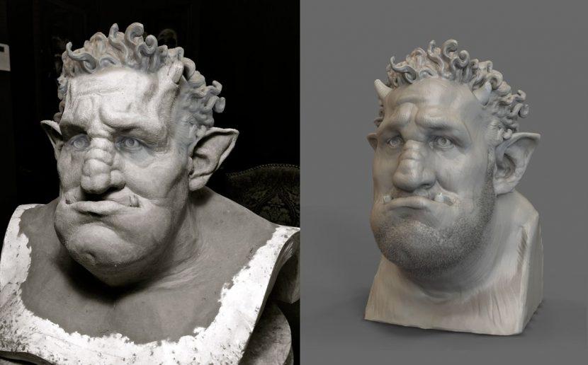 A comparison between mold and CG sculpt.