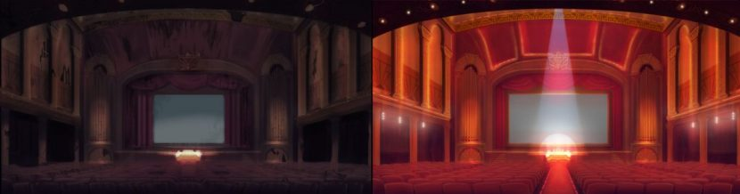 Interior of theatre before and after.