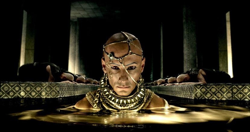 Xerxes emerges from the gold bath.