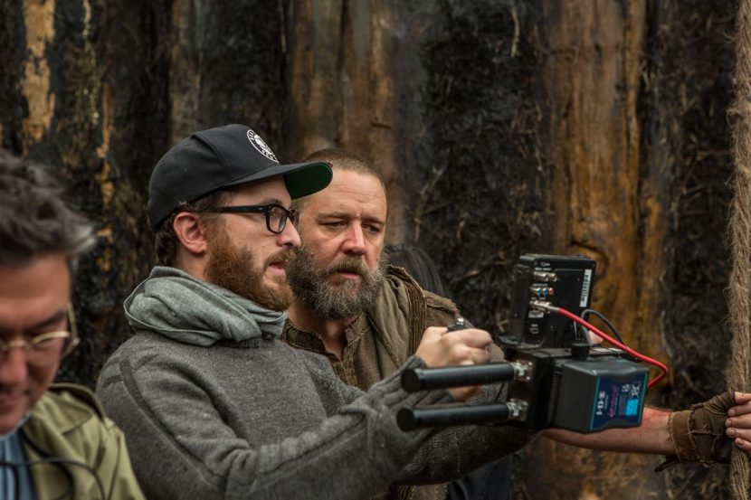 Darren Aronofsky and Russell Crowe who plays Noah on set.