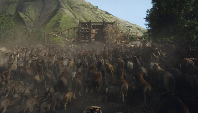A final shot of the animals arriving. VFX by ILM.
