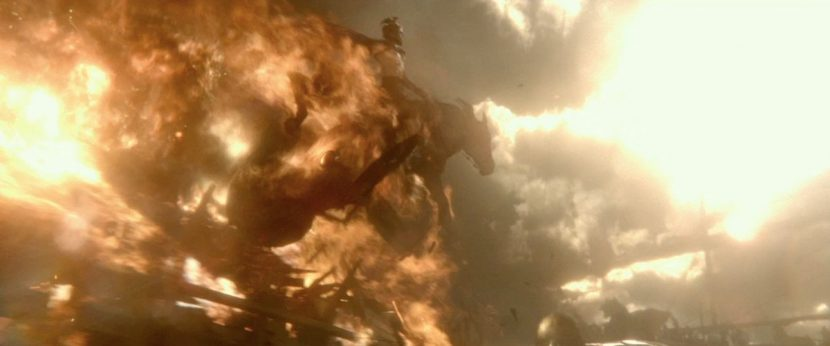 A still from the film's trailer showing part of the horse shot.