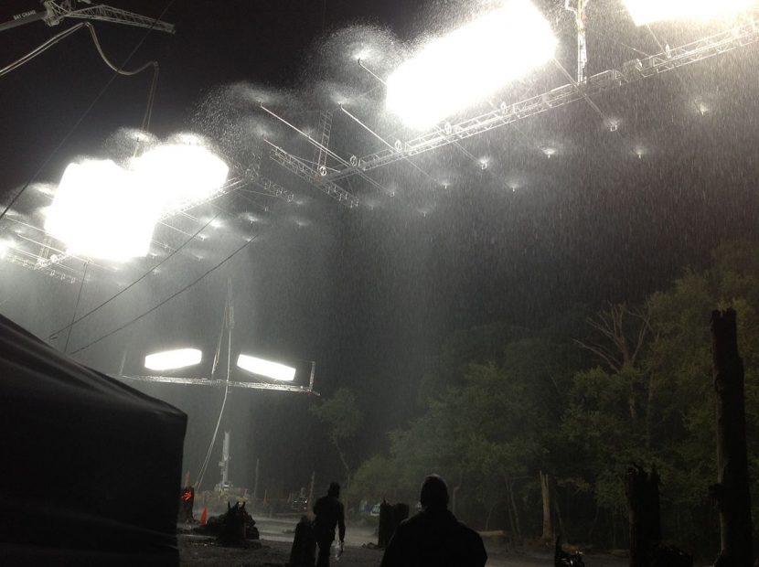The rain bars in operation.
