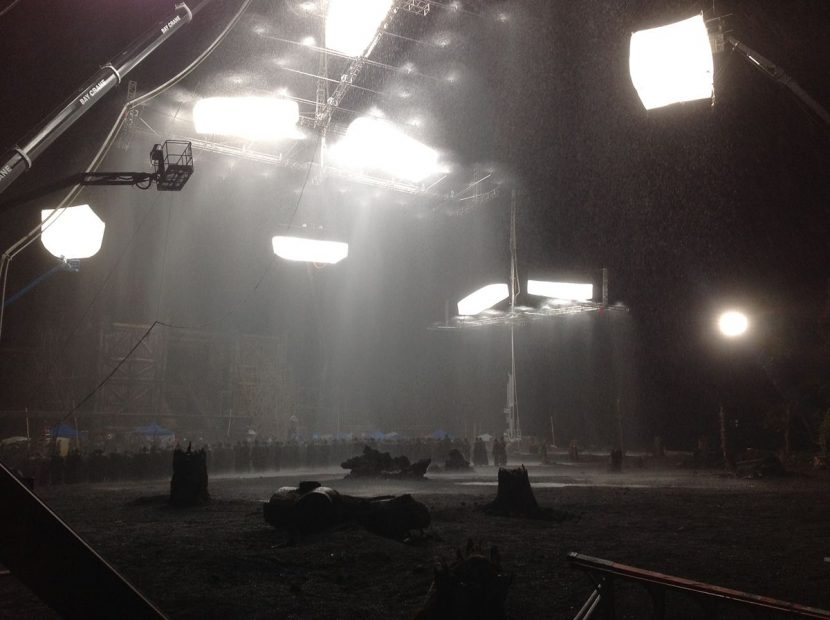 A view of the Noah ark set with the rain bars and lighting in operation.