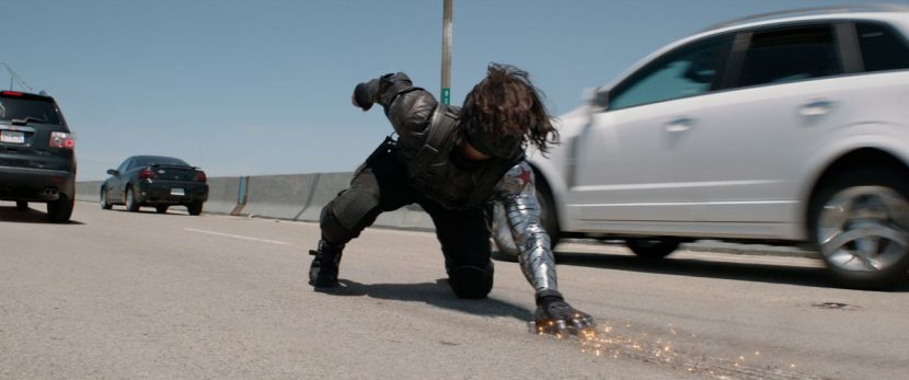 The Winter Soldier in the roadway battle.