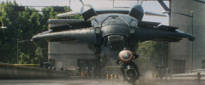 Rogers rides towards the Quinjet.