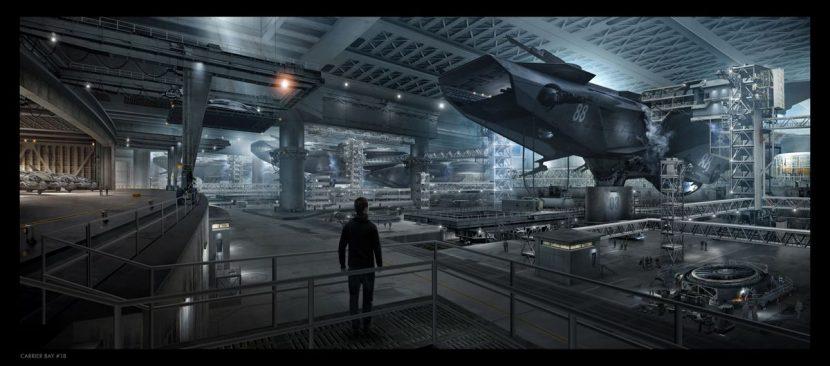 Helicarrier bay concept art.