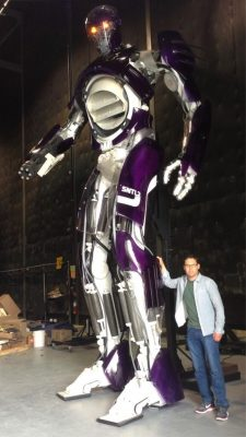 Bryan Singer poses with the full-scale Sentinel prop, in an image posted on the director's Twitter account.