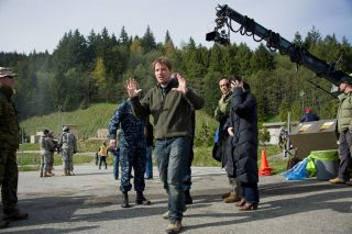 Director Gareth Edwards on the set of Godzilla.