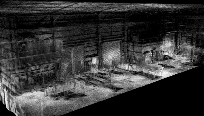 The resulting scan data from the warehouse area - click to see a larger version.
