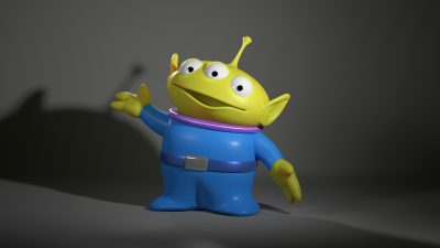 Toy Story Alien rendered with RIS, using the Path Tracer and the built-in Skin shader. The shader uses integrates three depths of SSS and employs indirect illumination in the final result. It is a single pass,- with 3 point lighting.