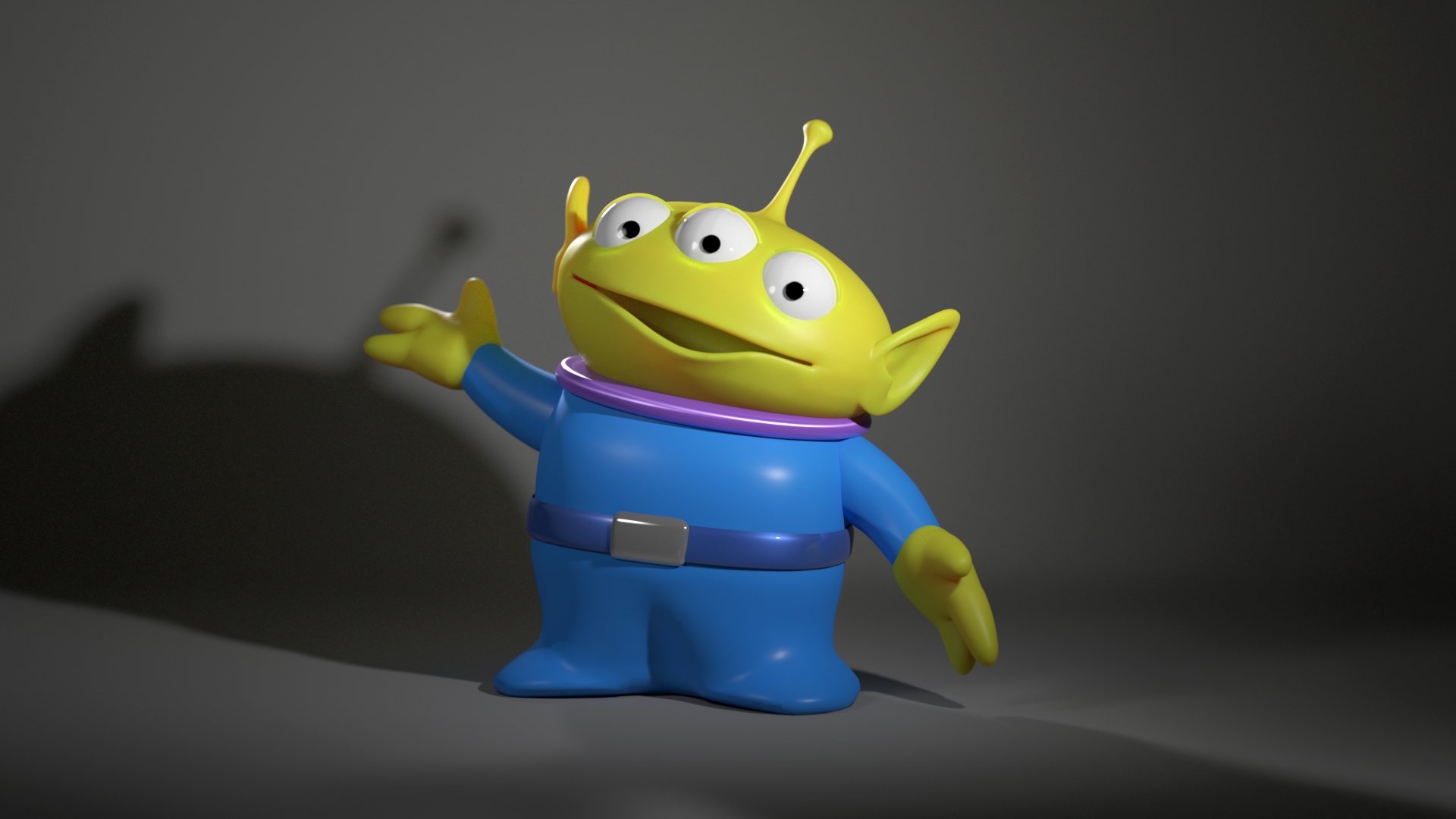 Toy Story Alien Rendered With RIS Using The Path Tracer And Built In
