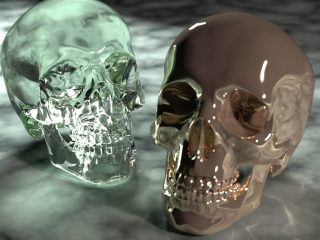 PxrVCM integrator's ability to resolve complex light paths, in particular the specular-diffuse-specular paths that arise from reflections or refractions of caustics. Note the caustics cast by the metal skull on the right onto the floor, and the complex refractions of caustics through the glass skull on the left.