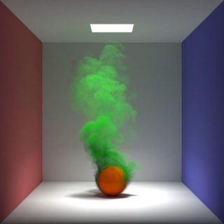 This scene demonstrates volume rendering using the Unidirectional Path Tracer, PxrPathTracer. All indirect illumination rays in this scene originate from an interaction with the Cornell box, not the volume.
