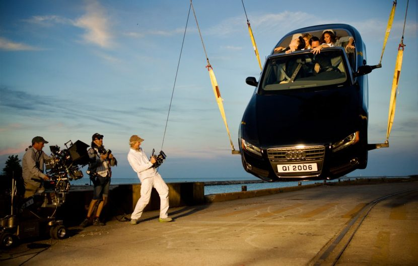 Filming a practical car rising stunt for the Hong Kong sequence.