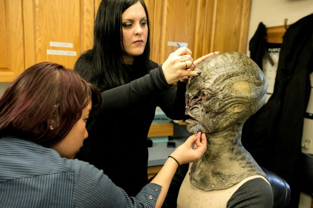 Make-up effects near completion.