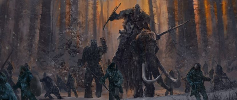 This mood painting shows the mammoth and giant characters.