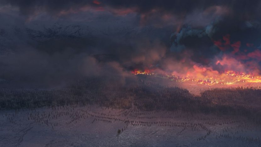 Mood painting created for the wildling attack - showing the vast fire.