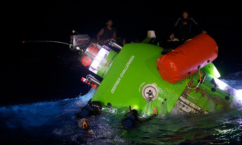 Deepsea Challenger returns to the surface.